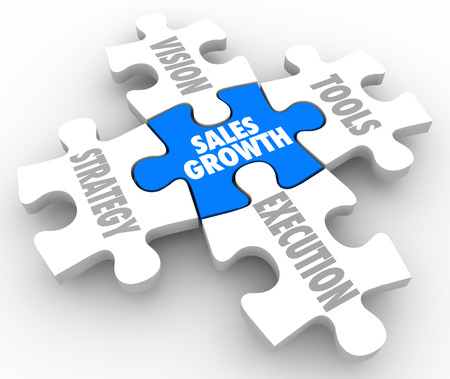 success strategy: Sales Growth puzzle pieces with Vision, Strategy, Tools and Execution connecting to achieve success and complete the picture of reaching a selling mission or objective