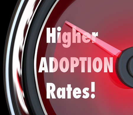 adopting: Higher Adoption Rates speedometer measuring rising acceptance level of customers and increasing sales or success rating