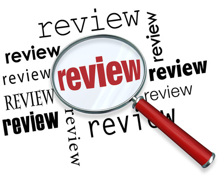 Review magnifying glass looking for evaluation, recommendations, ratings, opinions, feedback or comments