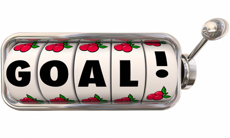 goal achievement: Goal word on slot machine wheels or dials to illustrate reaching an objective or completing a mision to achieve or attain success Stock Photo
