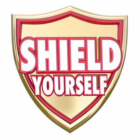 hazards: Shield Yourself words on armor to protect, prevent or guard against danger or hazards from crime, hacking, theft or viruses