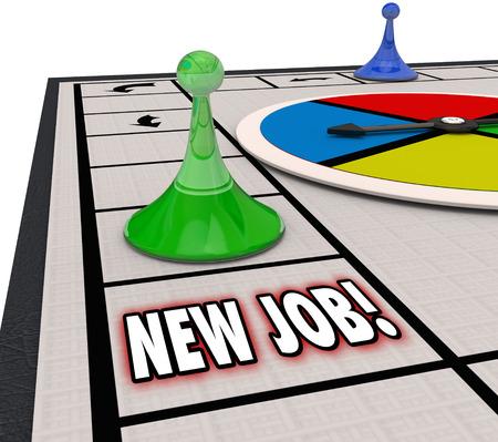 job: Las nuevas palabras de empleo en el juego de mesa como la tierra una nueva carrera o se mudan a un papel más amplio con el avance o promoción