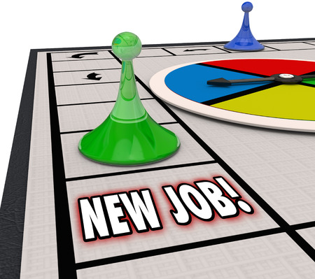 job: New Job words on board game as you land a new career or move into an expanded role with advancement or promotion