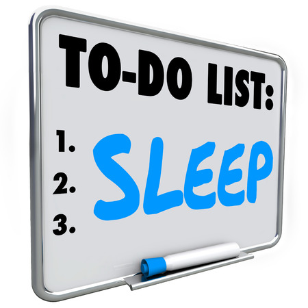 rejuvenate: Sleep word on to do list to remind you to remember to get rest to rejuvenate, refresh and relax to improve your health and maintain good lifestyle habits Stock Photo