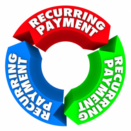 ongoing: Recurring payment words in cycle to illustrate automatic or automated billing or invoicing for renewal of subscription or service Stock Photo