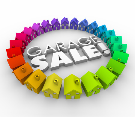 garage sale: Garage Sale homes neighborhoold houses holding a rummage shopping event to attract community to buy your unwanted household items