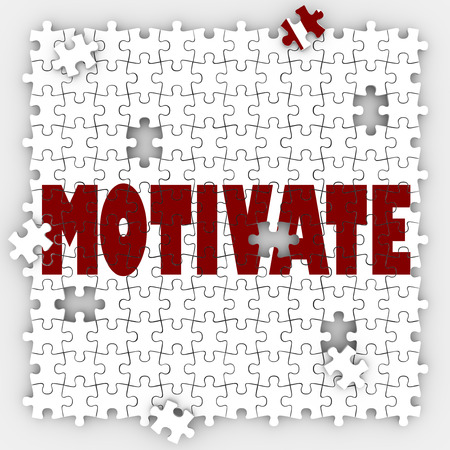 rationale: Motivate puzzle word to get inspired, encouraged or feel passion, drive, desire and ambition to make a change or achieve a goal Stock Photo