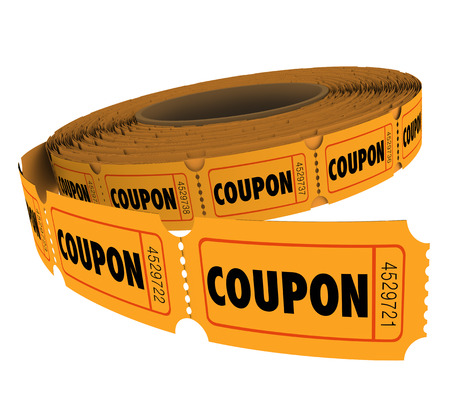 Coupon passes, tickets or vouchers on a roll for savings, admission or reservation at an event or savings sale at a store