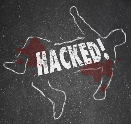 comunicación escrita: Hacked palabra escrita con tiza en contorno del cuerpo muerto como v�ctima de la delincuencia inform�tica, el robo de internet o la interrupci�n de la comunicaci�n en red a trav�s de la ciberdelincuencia Foto de archivo