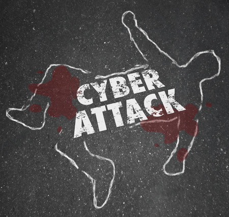 disruption: Cyberattack word on a chalk outline to illustrate computer hacking and illegal disruption of secure internet network or information technology system