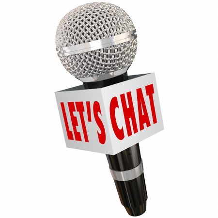 lets: Lets Chat words on a microphone box to illustrate a discussion or interview for radio, podcast or audience