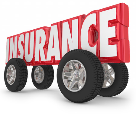 accidents: Insurance word in 3d red letters and four tires for a car or truck to illustrate insured driving and protection from accidents or injury
