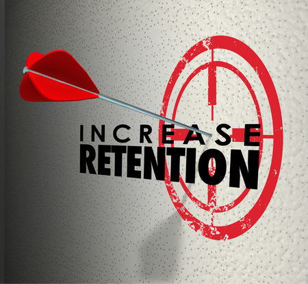 onto: Increase Retention and arrow hitting a target or bulls-eye on the words to illustrate successful campagin to hold onto or keep employees or customers Stock Photo