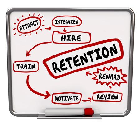 retained: diagrama de la retención en un tablero de borrado en seco para mantener a los empleados, con las palabras atraen, entrevistar, contratar, formar, motivar, recompensar y revisión como medidas para mantener a los trabajadores o personal