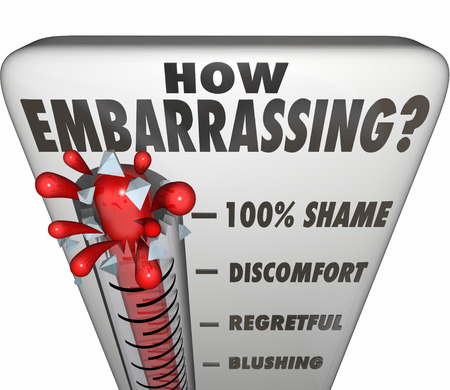 shame: How Embarrassing question on a thermometer or gauge to measure your level of shame or discomfort from a mistake, mishap or accident Stock Photo