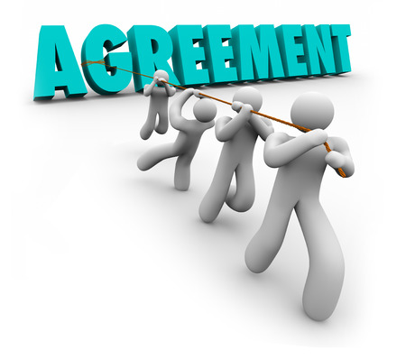 Agreement 3d word pulled by a team of people working together to reach concensus, settlement or negotiated accord Stock Photo