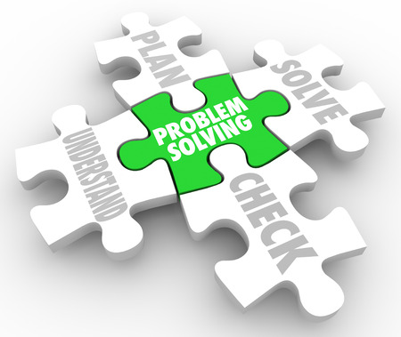 solver: Problem Solving steps on puzzle pieces to illustrate the process of successfulling overcoming an issue, with words Understand, Plan, Solve and Check Stock Photo