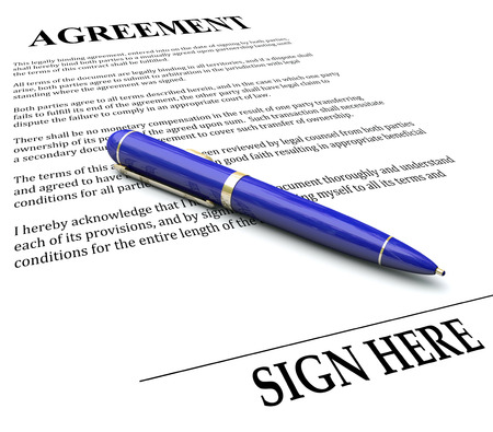 agreement: Agreement word on document with pen about to sign a signature to make a legal negotiation or settlement official and binding by law Stock Photo