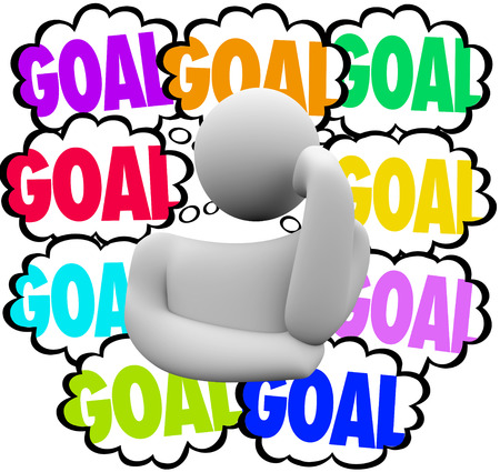 the thinker: Goal word in thought clouds beside a thinker to illustrate priority setting in handling or working to achieve many missions or objectives