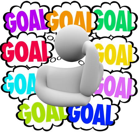 metas: meta de la palabra en nubes de pensamiento junto a un pensador para ilustrar el establecimiento de prioridades en el manejo o trabajando para lograr muchas misiones u objetivos Foto de archivo