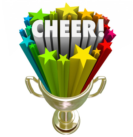 cheerleading squad: Cheer word in gold trophy with stars to illustrate winning award or prize for best or top performance of a cheerleading squad or team at final national or state competition Stock Photo