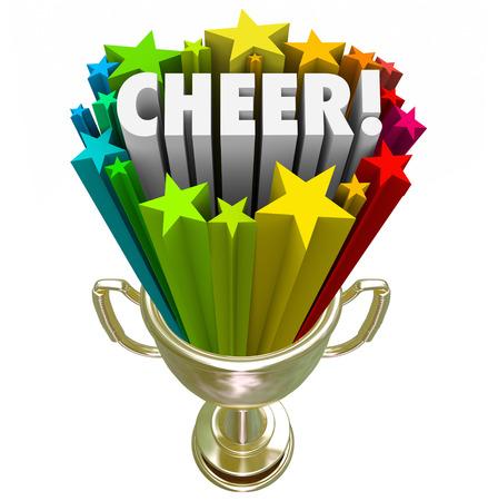 porrista: Palabra alegr�a en trofeo de oro con las estrellas para ilustrar ganar premio o el premio a la mejor o el m�ximo rendimiento de un equipo de porristas o equipo en la competencia nacional o estado final