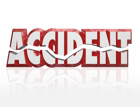 mishap: Accident word in cracked 3d red letters to illustrate a crash or collision as a result of an automobile mishap that is covered by an insurance policy