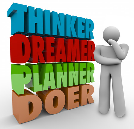 Thinker Dreamer Planner Doer words in 3d letters beside a thinking person wondering how to execute and idea and turn a brainstorm into a reality Stock Photo