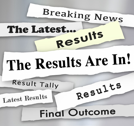 elections: The Results are In words in newspaper headlines to illustrate voting or election survey or poll results reported by news outlets