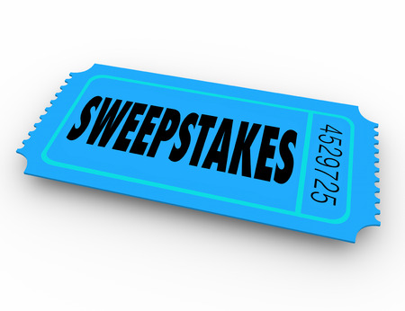 raffle: Sweepstakes word on winning lottery, raffle or contest ticket to get a big  jackpot of money or other prizes