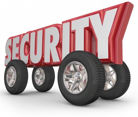 robo de autos: Palabra de la seguridad en letras 3d de llantas y ruedas para ilustrar una conducción segura y la prevención del delito de robo de vehículos y robos