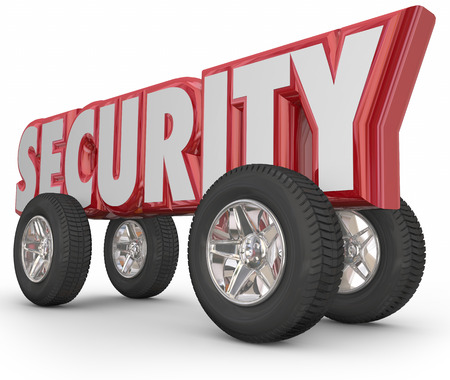 crime prevention: Security word in 3d letters with tires and wheels to illustrate safe driving and crime prevention from theft and stolen vehicles