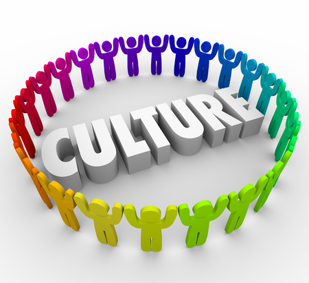 workplace: Culture 3d word surrounded by people sharing a common language, values, language and belief system as a company, organization, association, society or religion Stock Photo