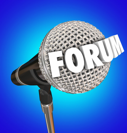opinions: Forum word on a microphone on blue background to illustrate an open meeting or discussion to communicate your feedback, ideas, opinions or comments