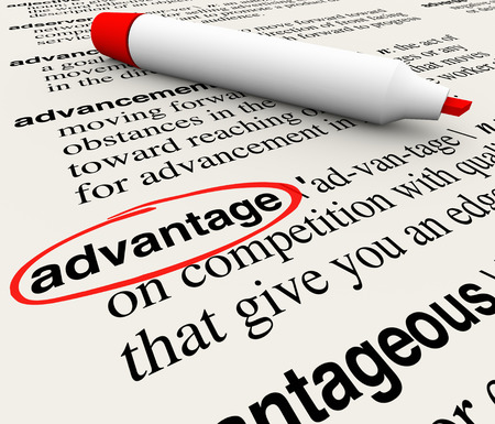 favored: Advantage word circled in a dictionary definition to illustrate and describe a competitive edge, handicap, superior quality or leadership position Stock Photo