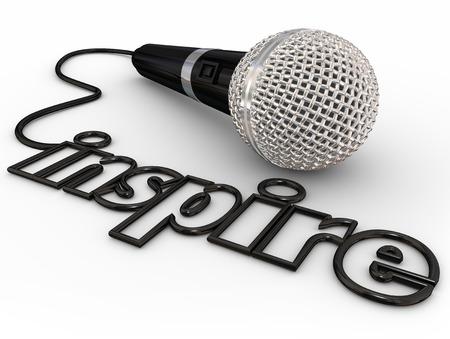 orador: Inspire palabra en el cable del micrófono para ilustrar una inspiración principal, de motivación o de autoayuda compartir altavoz con una multitud o audiencia Foto de archivo