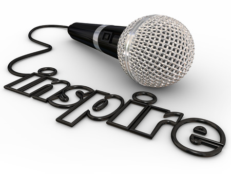 speaker: Inspire word in microphone cord to illustrate a keynote, motivational or self-help speaker sharing inspiration with a crowd or audience