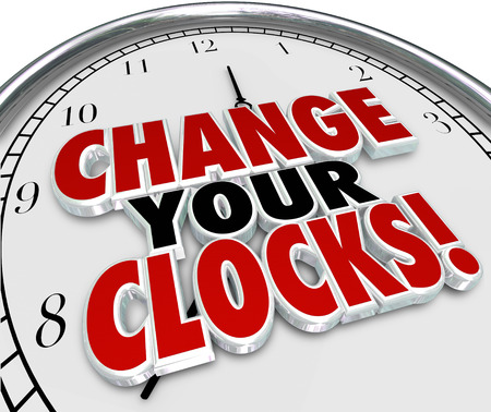 save: Change Your Clocks words on a 3d rendered clock face to illustrate setting hands forward or backward an hour to observe daylight savings time standard