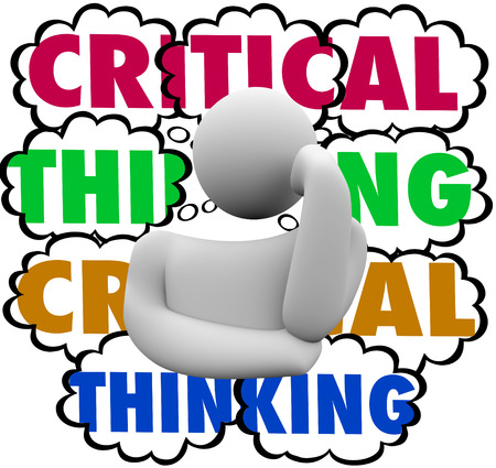 assessment system: Critical Thinking words in thought clouds behind a thinker to illustrate using analysis and careful process or system to look for improvement or increased results