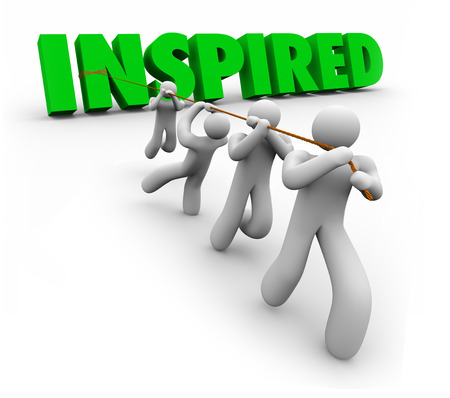 encouraged: Inspired 3d word pulled by a team following a leader to achieve success in a mission, goal or objective with great confidence, drive and ambition Stock Photo