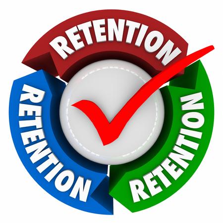retained: Palabra de retención en las flechas en torno a una marca de verificación para ilustrar una campaña exitosa para mantener o retener clientes, clientes, trabajadores, empleados o personal