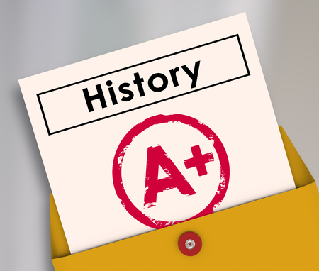 of yesteryear: History report card opening from a yellow envelope to illsutrate a student has passed the class or course with an A plus score or grade