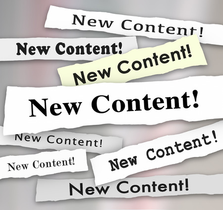 posted: New Content headlines torn from newspapers to announce or advertise that fresh, additional or more information, blogs, articles or columns have been posted to benefit readers or an audience