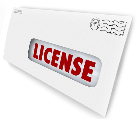 arrived: Your license has arrived in an envelope as official approval or authorization for your application for business operation, driving, hunting, or other activity