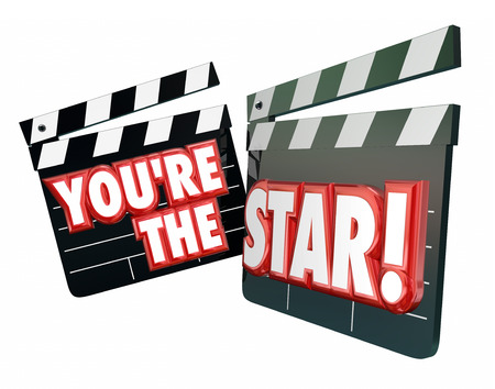 film role: Youre the Star words on movie clapper boards to illustrate an actor or actress wth a starring role in a Hollywood production or film Stock Photo