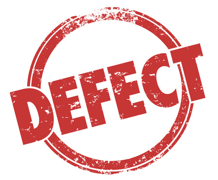 defect: Defect stamp in round red grunge style circle to warn you of a bad product or merchandise that is broken or flawed with bugs