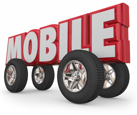 operative: Mobile word in 3d red letters with wheels and tires to illustrate automotive, car or truck transportation and travel with movement from place to place