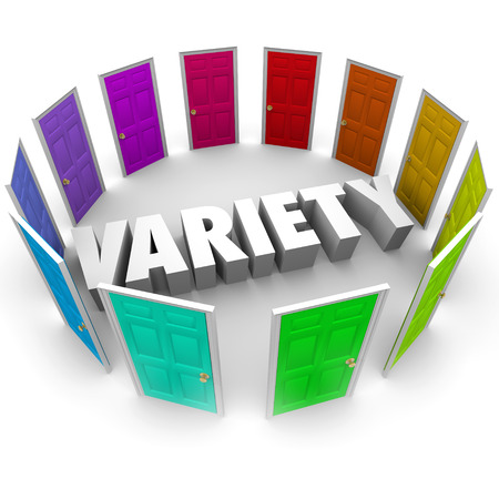 diversify: Variety word in 3d letters surrounded by doors representing choices, alternatives and options for different paths forward in life or career Stock Photo