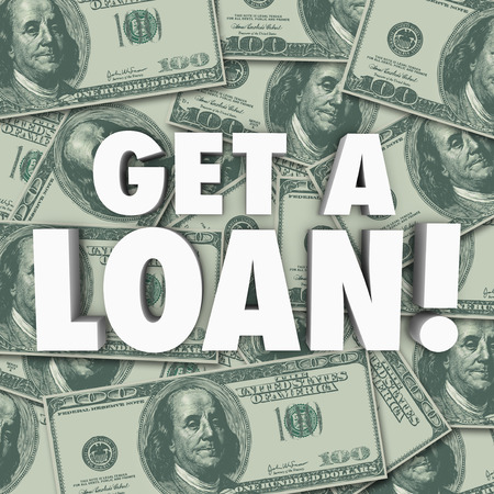 loaning: Get a Loan 3d words on a background of money to illustrate applying for credit or a loan or financing of a mortgage or major purchase such as a home or car