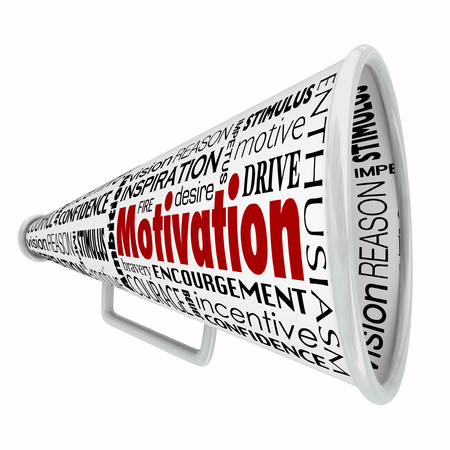 inspiracion: Motivaci�n palabra sobre meg�fono o el meg�fono para ilustrar inspirador discurso, el liderazgo o la gesti�n de compartir un mensaje para inspirar a un equipo, mano de obra o de los empleados Foto de archivo